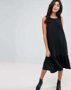 Платье с заниженной талией и оборкой по краю YMC - Черный