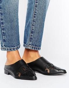 Кожаные туфли на плоской подошве в стиле вестерн ASOS MAYDAY - Черный