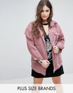 Рваная джинсовая куртка Missguided Plus - Розовый