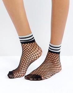 Сетчатые носки с блестящими полосками ASOS - Черный