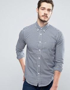 Темно-синяя приталенная рубашка в клеточку из поплина Abercrombie & Fitch - Темно-синий