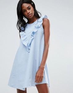 Платье-рубашка в полоску с рюшами Vila - Синий