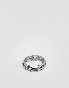 Шлифованное серебристое кольцо с гравировкой Classics 77 - Серебряный