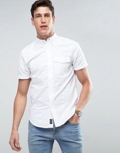 Белая узкая рубашка с короткими рукавами Abercrombie & Fitch - Темно-синий