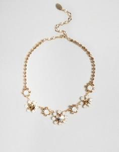 Ожерелье с цветами и стразами Swarovski Krystal London - Золотой