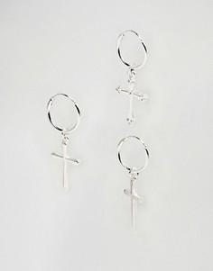 Серьги-кольца с крестиками Chained & Able - Серебряный