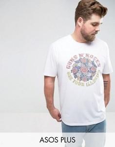 Свободная футболка с принтом ASOS PLUS - Белый