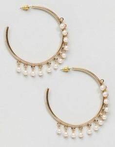Серьги-кольца с искусственным жемчугом ASOS - Золотой