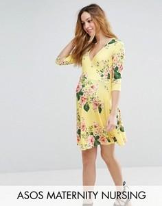 Желтое короткое приталенное платье с запахом и цветочным принтом ASOS Maternity NURSING - Желтый