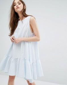 Платье в полоску с баской Weekday - Мульти