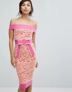 Кружевное платье-футляр с открытыми плечами и бантиком Vesper - Оранжевый
