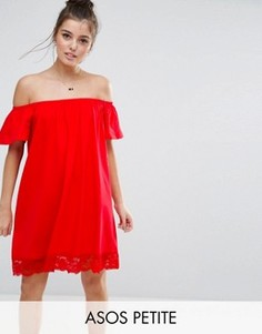 Платье с открытыми плечами и кружевным краем ASOS PETITE - Красный
