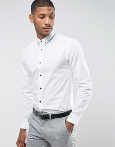 Рубашка классического кроя с воротником на пуговицах New Look - Белый