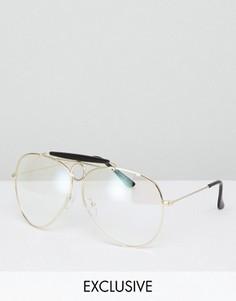 Очки с прозрачными стеклами Reclaimed Vintage эксклюзивно для ASOS - Золотой