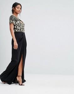 Декорированное платье макси с вырезом сердечком и запахом на юбке Virgos Lounge - Черный