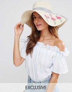 Соломенная шляпа с фламинго South Beach - Бежевый