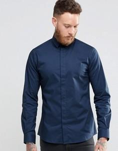 Зауженная стретчевая рубашка с заостренным воротником Noose & Monkey - Темно-синий