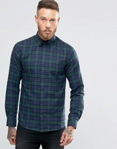 Рубашка скинни с принтом тартан Noose & Monkey - Зеленый