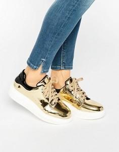 Золотистые кроссовки металлик на платформе Daisy Street - Золотой