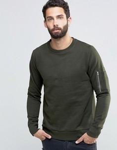 Джемпер в стиле милитари с круглым вырезом Brave Soul - Зеленый