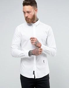 Строгая рубашка из эластичной ткани с отделкой в виде черепа на воротнике Religion - Белый