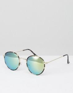 Круглые солнцезащитные очки с зелеными зеркальными стеклами ASOS - Зеленый