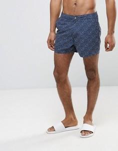 Короткие шорты для плавания в горошек с неэластичным поясом ASOS - Темно-синий