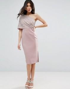 Декорированное платье-футляр миди на одно плечо ASOS - Розовый