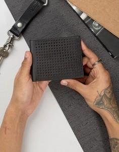 Кожаный бумажник с перфорацией Dead Vintage - Черный