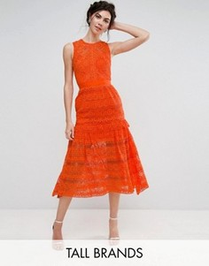 Кружевное приталенное платье миди для выпускного True Decadence Tall - Оранжевый