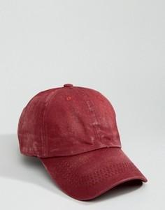 Выбеленная бордовая бейсболка с винтажным эффектом 7X - Красный