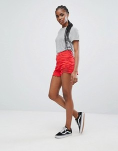 Джинсовые шорты с рваной отделкой New Look - Красный