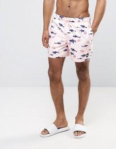 Розовые шорты для плавания с принтом акул и логотипом Hollister Guard - Розовый