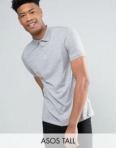 Серая меланжевая футболка-поло ASOS TALL - Серый