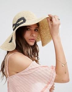 Широкополая соломенная шляпа в стиле оversize с бантом ASOS - Бежевый