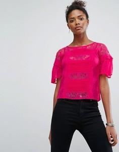 Топ с кружевной отделкой New Look - Розовый