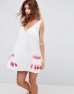 Пляжный сарафан с неоновой вышивкой на карманах ASOS - Белый
