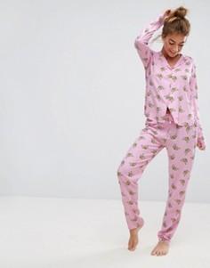 Пижамная рубашка и брюки с принтом пчел ASOS - Мульти