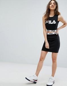 Облегающая мини-юбка в рубчик с логотипом на ленте Fila - Черный