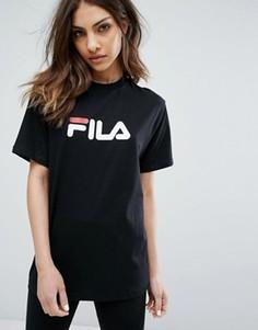 Oversize-футболка бойфренда с логотипом на груди Fila - Черный