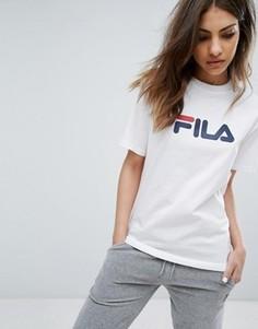 Oversize-футболка бойфренда с логотипом на груди Fila - Белый