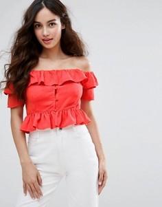 Кроп-топ с открытыми плечами Fashion Union - Оранжевый