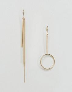 Непарные серьги с контурным кольцом и планкой ASOS - Золотой