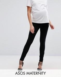 Черные джинсы скинни с посадкой над животом ASOS MATERNITY RIDLEY - Черный