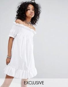 Платье миди со спущенными плечами и вышивкой ришелье Milk It Vintage - Белый