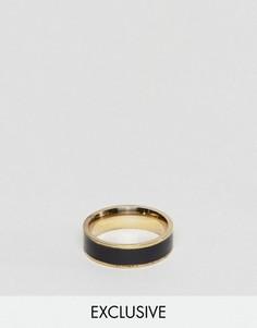 Кольцо с черной отделкой Reclaimed Vintage Inspired - Золотой