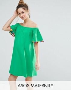 Платье с помпонами ASOS Maternity - Зеленый
