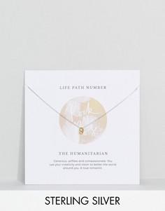 Серебряное ожерелье с подвеской в форме цифры 9 Rock N Rose - Золотой