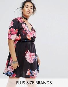 Платье с цветочным принтом и запахом Pink Clove - Мульти
