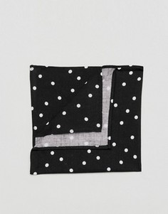 Черный платок для нагрудного кармана в горошек ASOS - Черный
